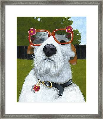 Fun In The Sun ... Dog With Glasses Painting Framed Print by Amy Giacomelli