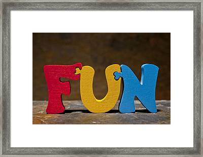 Fun Puzzle Painted Wood Letters Framed Print