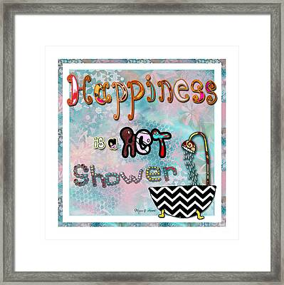 Fun Whimsical Inspirational Word Art Happiness Quote By Megan And Aroon Framed Print by Megan Duncanson