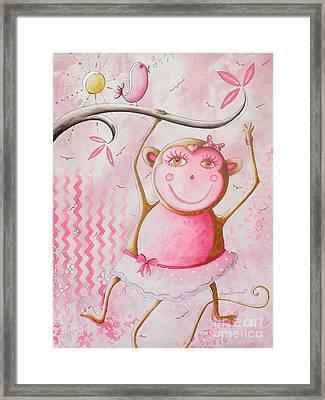 Fun Whimsical Pink Monkey Princess Baby Girl Nursery Painting By Megan Duncanson Framed Print by Megan Duncanson