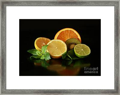 Fun With Citrus And Kiwi Fruit Framed Print by Inspired Nature Photography Fine Art Photography