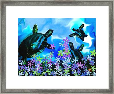 Fun With Sea Turtles Framed Print by Lady Ex