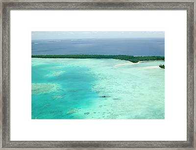 Funafuti Atol On Tuvalu From The Air Framed Print by Ashley Cooper