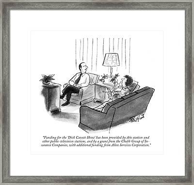 Funding For The 'dick Cavett Show' Framed Print by Stan Hunt