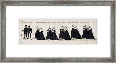 Funeral Procession Of Anne Of Cleves Framed Print by British Library