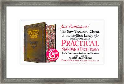 Funk And Wagnalls Dictionary Framed Print by Woodson Savage