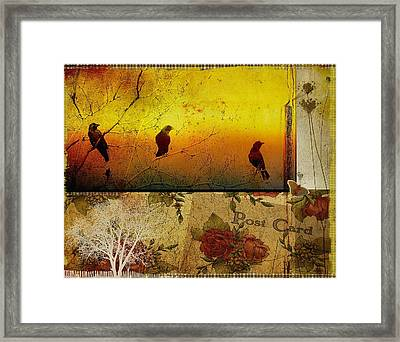 Funky Crows Collage Framed Print