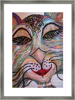 Framed Print featuring the painting Funky Feline  by Eloise Schneider