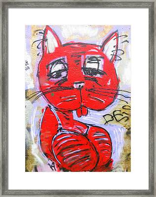 Funky Feline Framed Print by Ramona Johnston