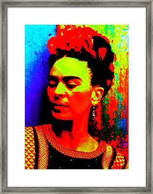 Framed Print featuring the mixed media Funky Frida by Michelle Dallocchio