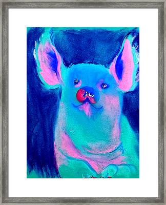 Funky Piggy Blue Framed Print