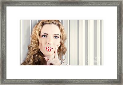 Funky Retro Summer Girl Wearing Striped Makeup Framed Print by Jorgo Photography - Wall Art Gallery