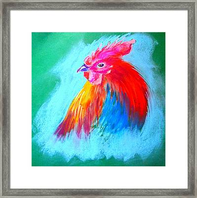 Funky Rooster Art Print Framed Print by Sue Jacobi