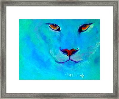 Funky Snow Leopard Turquoise Framed Print