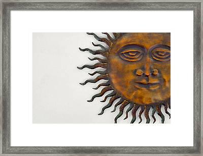 Funky Sunface Art Framed Print by Rebecca Brittain