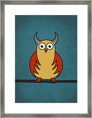 Funny Cartoon Horned Owl  Framed Print