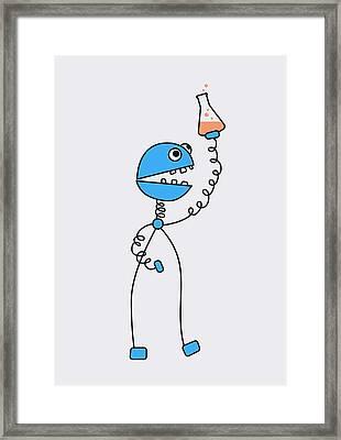 Funny Cartoon Robot Chemist Framed Print