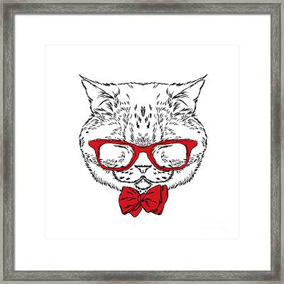 Funny Cat In A Tie And Glasses. Vector Framed Print