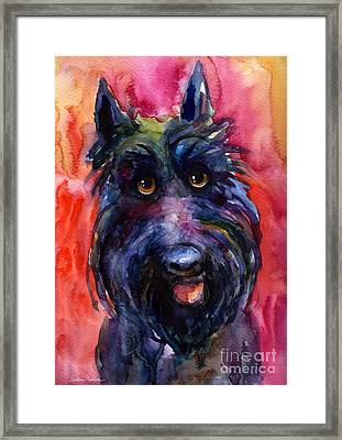 Funny Curious Scottish Terrier Dog Portrait Framed Print
