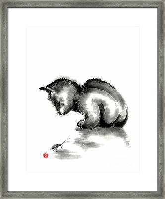 Funny Cute Little Black Cat And Beetle Japanese Sumi-e Original Ink Painting Art Print Framed Print by Mariusz Szmerdt
