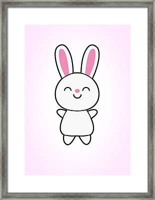 Funny Cute Rabbit Bunny In Pink Framed Print