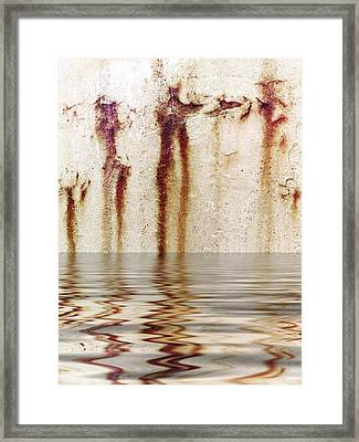 Funny Dance In Cold Water Framed Print