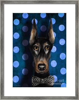 Funny Doberman Pincher Gentleman Dog Portrait Framed Print