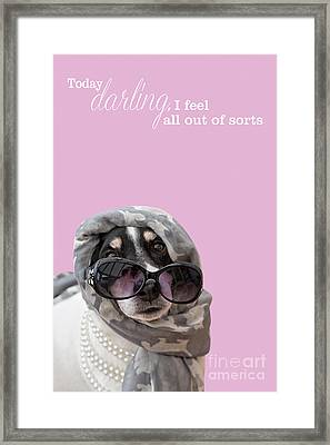 Funny Dog And Text Poster - Headscarf Beads And Sunglasses Framed Print