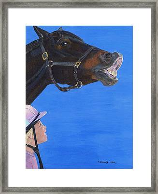 Funny Face - Horse And Child Framed Print
