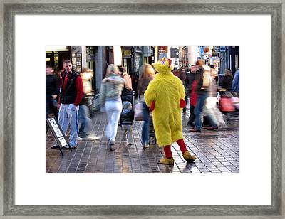 Funny Man In Chicken Costume Framed Print by Patrick Dinneen