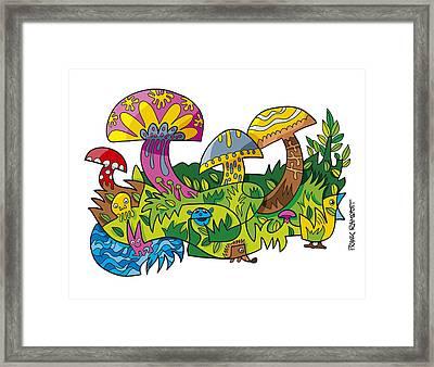 Funny Mushroom Animals Scene Doodle Framed Print by Frank Ramspott