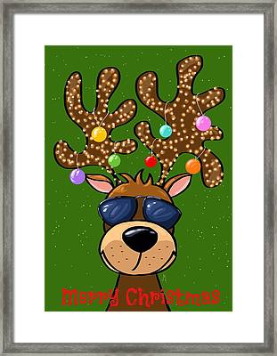 Funny Reindeer Framed Print by Veronica Minozzi