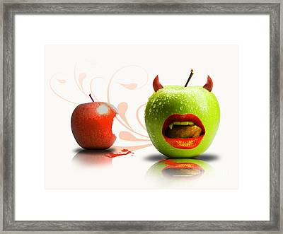 Funny Satirical Digital Image Of Red And Green Apples Strange Fruit Framed Print by Sassan Filsoof