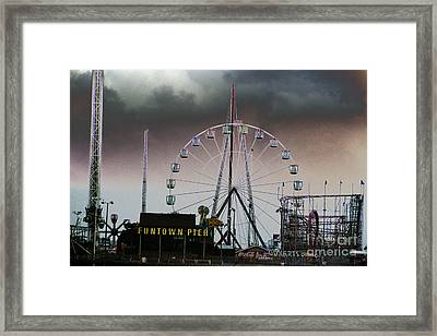 Funtown Pier Framed Print by Kathy Flugrath Hicks