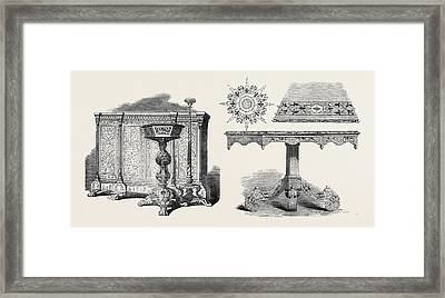 Furniture, East India Company, And, Inlaid Table And Framed Print