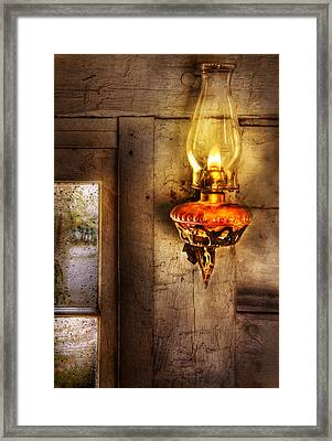 Furniture - Lamp - Kerosene Lamp Framed Print by Mike Savad