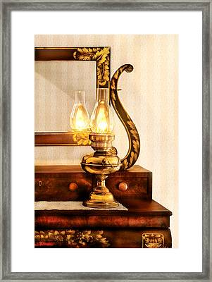 Furniture - Lamp - The Bureau And Lantern Framed Print by Mike Savad
