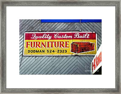 Framed Print featuring the photograph Furniture Sign by Ethna Gillespie