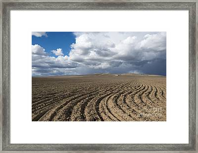 Furrows Before The Storm Framed Print by Mike  Dawson