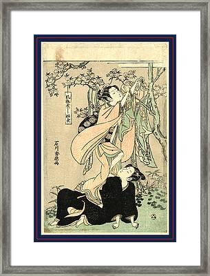 Furyu Yastushi Hagoromo Framed Print by Ishikawa Toyonobu (1711-85), Japanese