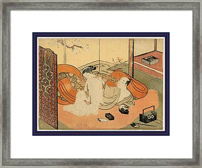Futon No Naka No Yujo To Kyaku, Suzuki 1 Print  Woodcut Framed Print