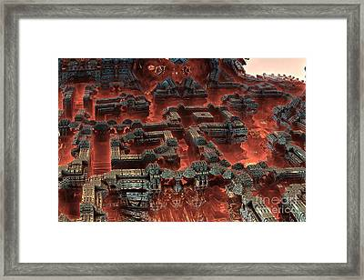 Future City In Red Framed Print by Bernard MICHEL