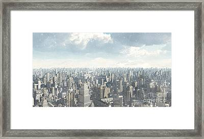 Future City Snow Framed Print by Fairy Fantasies