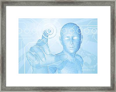 Future Man Touch Screen Concept Framed Print by Christos Georghiou