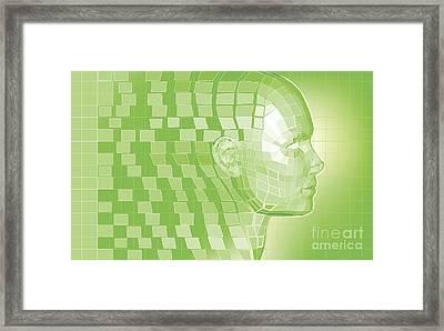 Futuristic Avatar  Polygon Mesh Background Framed Print by Christos Georghiou
