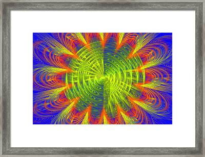 Futuristic Disc Blue Red And Yellow Fractal Flame Framed Print