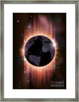 Futuristic Globe Concept Illustration Framed Print
