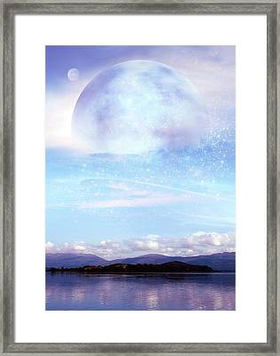 Futuristic Moon Over Water Framed Print