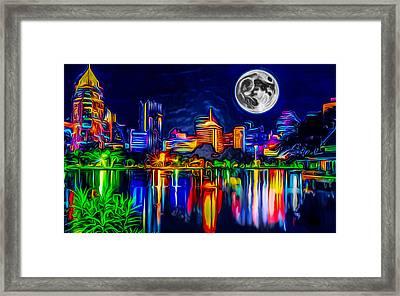 Futuristic Moon Rise Framed Print