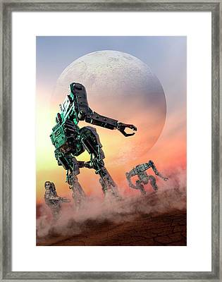 Futuristic Robots Framed Print by Victor Habbick Visions